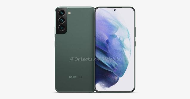 تم تسريب تصميم Galaxy S22 Plus ، باللون الأخضر الزيتوني