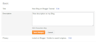 how to change Blog Description on Blogger