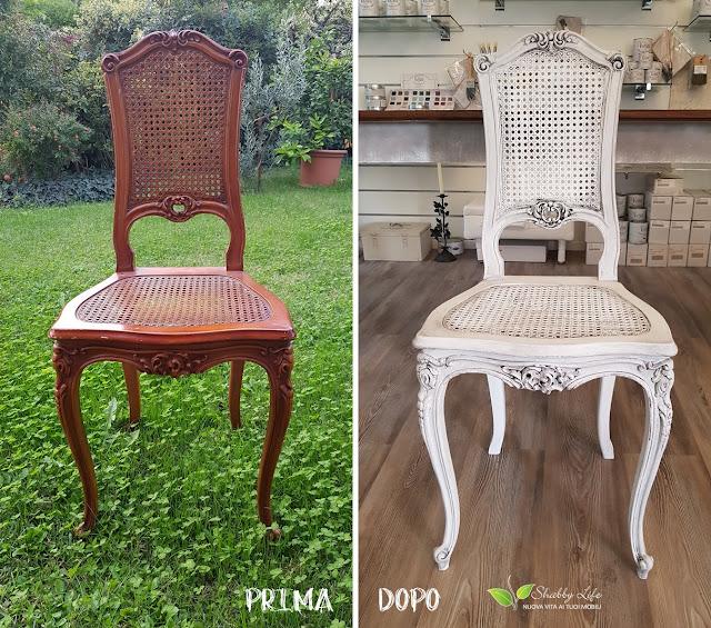 prima e dopo di una sedia in stile shabby