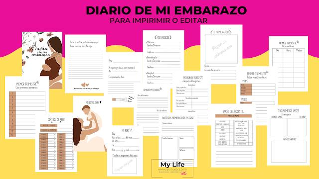 DIARIO, EMBARAZO, IMPRIMIR, PDF, EDITAR, POWERPOINT