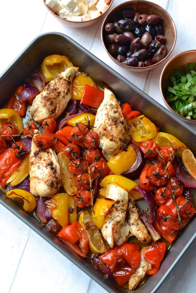 Greek Chicken Traybake - A super easy traybake packed with roasted peppers, tomatoes, olives, red onion and chicken. It takes just 30 minutes to make!(Paleo, Grain/Gluten Free, SCD)