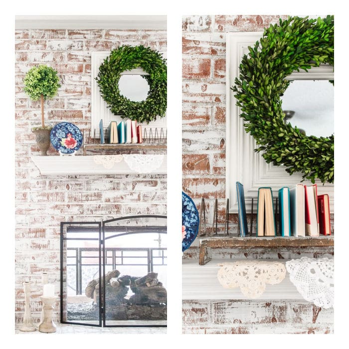 patriotic mantel with books, dishes and greenery