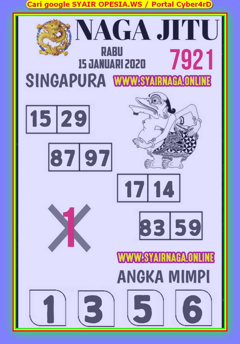 Kode syair Singapore Rabu 15 Januari 2020 103