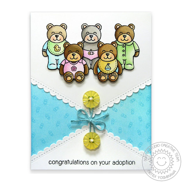Sunny Studio Stamps: Baby Bear & Fishtail Banners Adoption Card by Mendi Yoshikawa