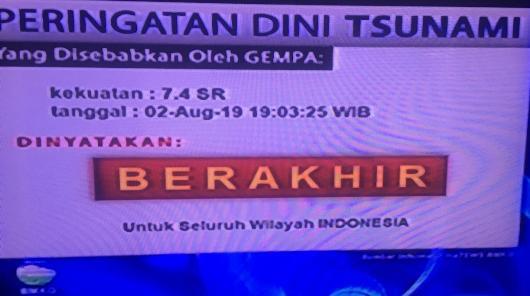 BMKG : Peringatan Dini Tsunami, Usai Gempa 7,4 SR di Banten Berakhir