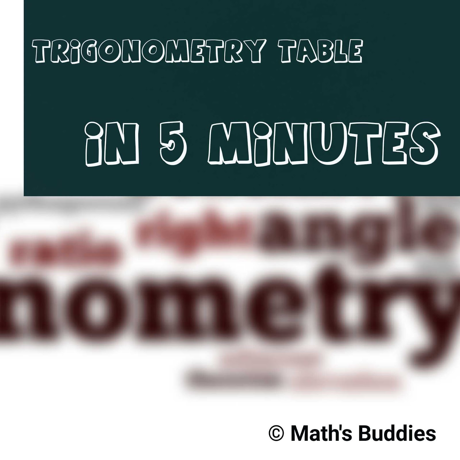 How to construct Trigonometry table in 5 minutes without memorising ...