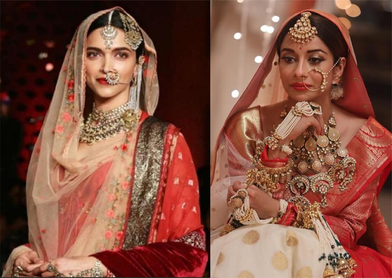 left Deepika Padukone in Padmaavat and right Nyra Banerjee as Divya in show Divya Drishti