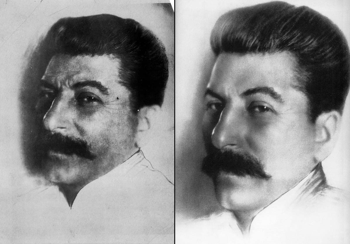 The original picture from 1924 doesn't do a very good job at concealing his pockmarked skin, the result of suffering from smallpox as a child. It comes as no surprise that a printed version of this photo, published in 1939, when Stalin was an almighty leader, was seriously retouched – as you can see, his skin is smooth, his hair and mustache silky.