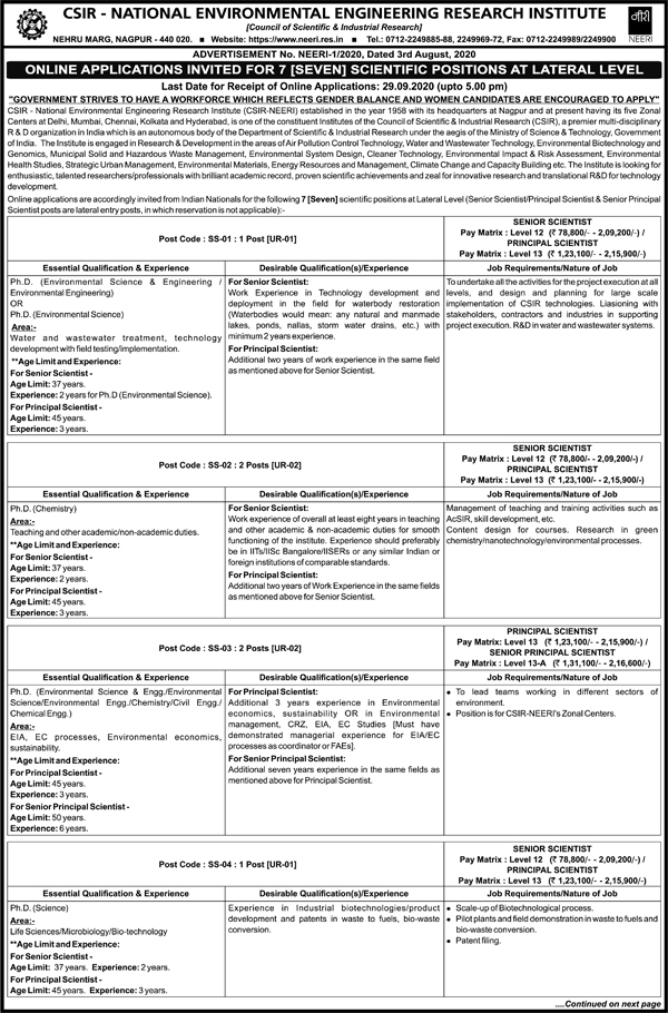 NEERI Envirnmental Biotech Scientist Job Openings