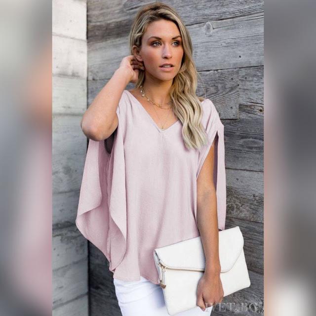 Γυναικεία  ροζ μπλούζα MAISEY PUDRA