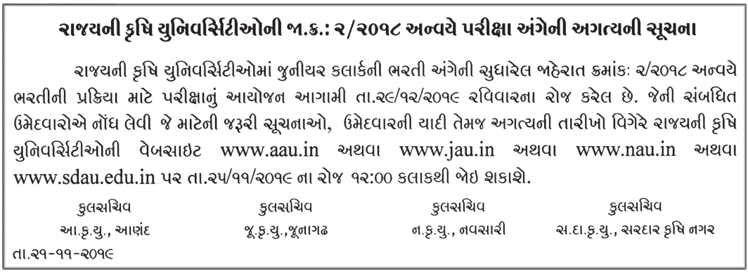 Gujarat Agricultural University Exam Date