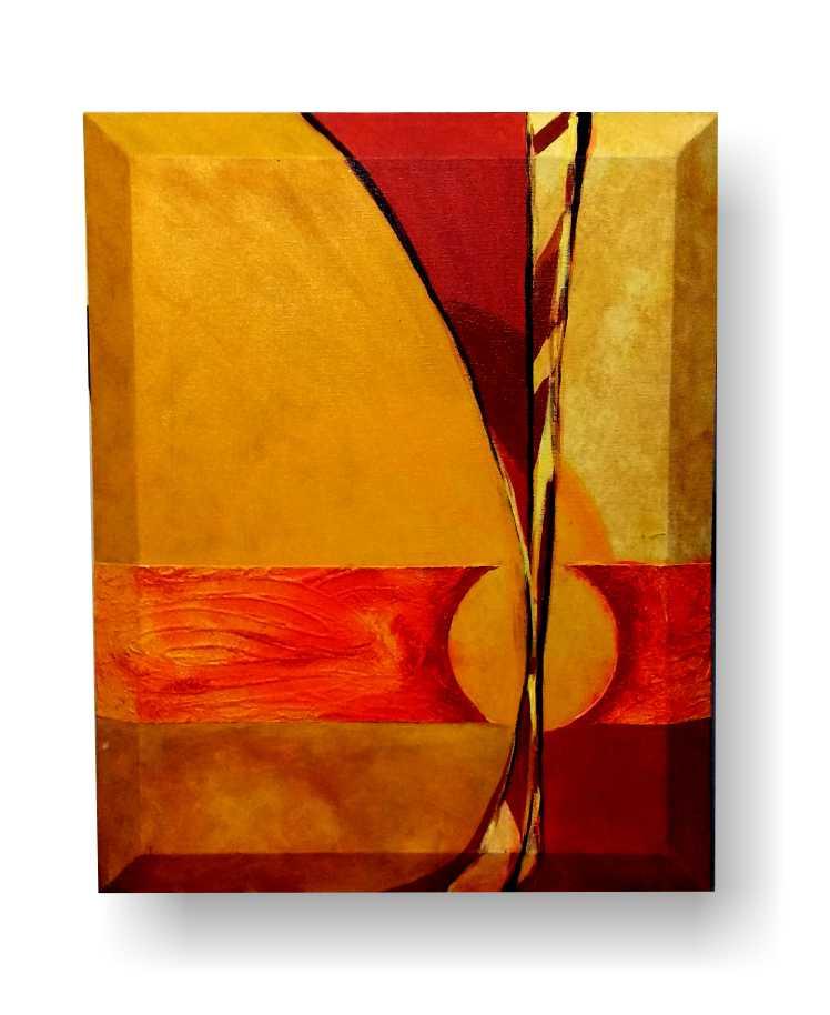 obra de arte em acrílico  com temática abstrata com cores fortes e linhas dinãmicas