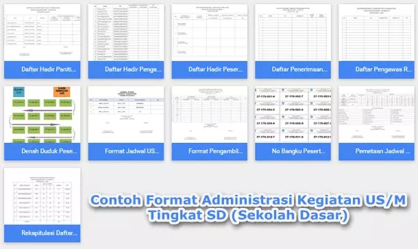 Contoh Format Administrasi Kegiatan US/M Tingkat SD (Sekolah Dasar)