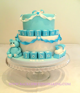 baby blocks, teddy and sleeping baby christening cake