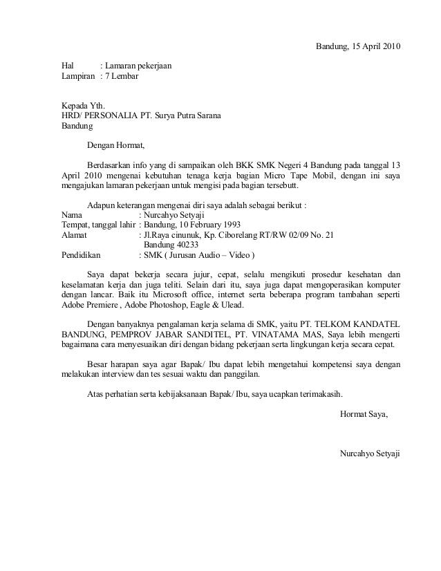 Contoh Surat Lamaran Inisiatif Contoh Ert