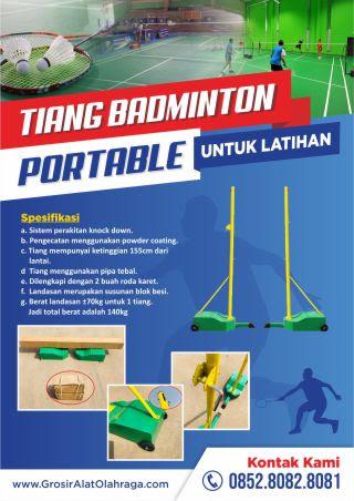 brosur tiang badminton portable untuk latihan