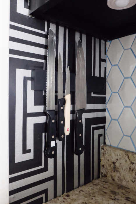 magnetic wall mount knife holder installed