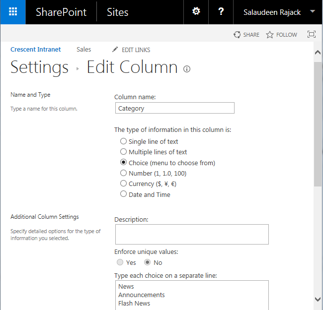 sharepoint powershell choice field