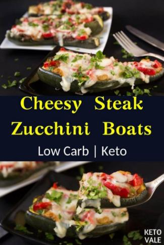 Cheesy Steak Zucchini Boats