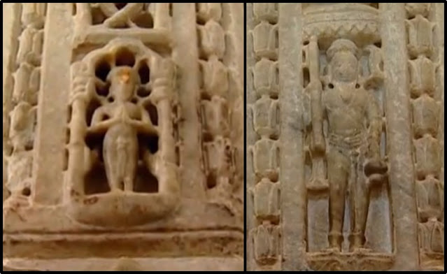 Images of Dharna Shah (left) and Depa (right) carved on the pillars of Ranakpur Jain Temple