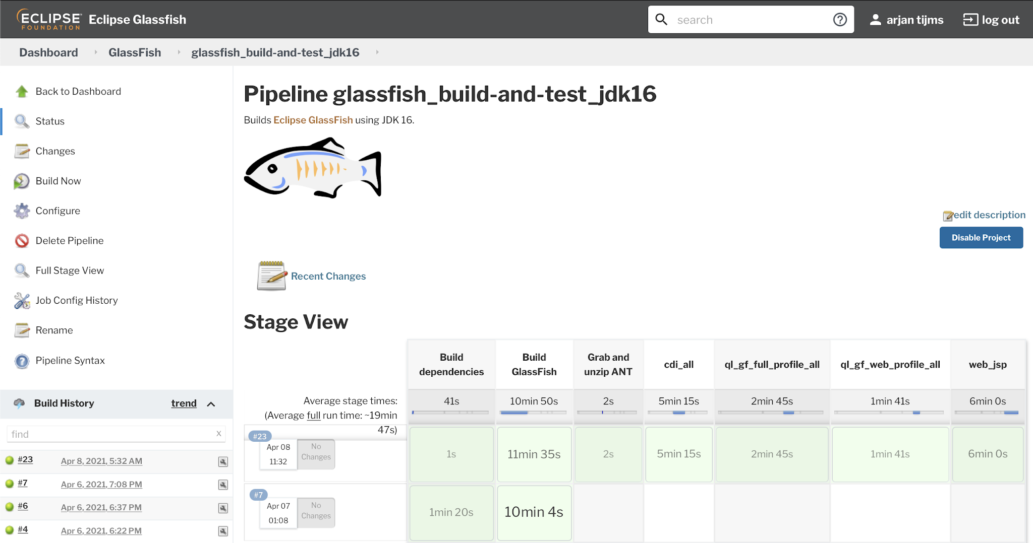 GlassFish JDK 16 all tests green
