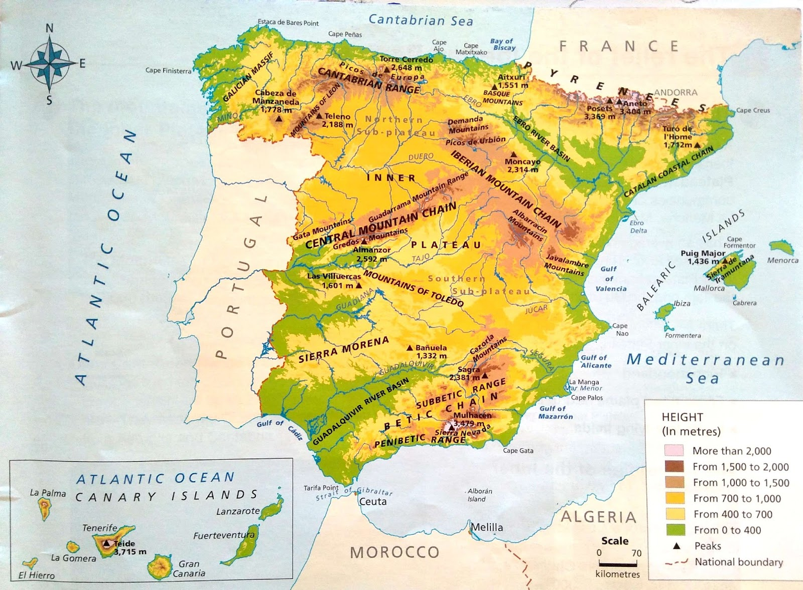 Map Of Spain With Mountains.Ceiptoursscience5 Unit 1 Social Science The Relief Of Spain