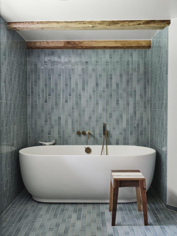 Beautiful tilework and color in this bathroom-designaddictmom