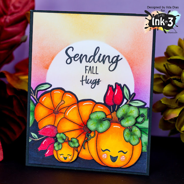 Fall Hugs, Pumpkin Patch Card, Ink On 3, Stamps, Autumn, Atelier Inks, Ink Blending, Card Making, Stamping, Die Cutting, handmade card, ilovedoingallthingscrafty, Stamps, how to, Fall friendship card,