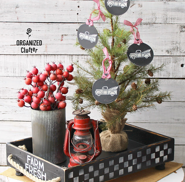 Repurposed/Upcycled Drawer Farmhouse Container Vignette & Tree Ornaments #stencil #Christmas #containervignette #farmhouseChristmas #Farmhouse #Checks #dixiebellepaint
