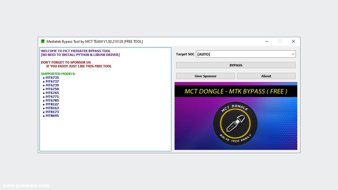 MediaTek Bypass Tool V1.00.210128 REV1 By MCT Team