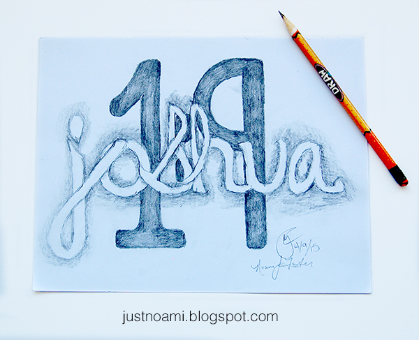 joshua 1:9 handlettering logo concept on drawing paper using a No.2 pencil final image