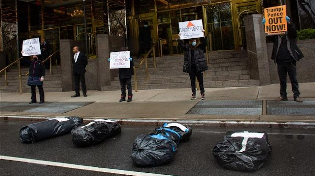 'Body bags' laid outside US President Donald Trump Hotel in New York to protest COVID-19 response