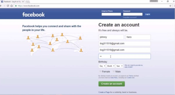 create account in facebook sign up