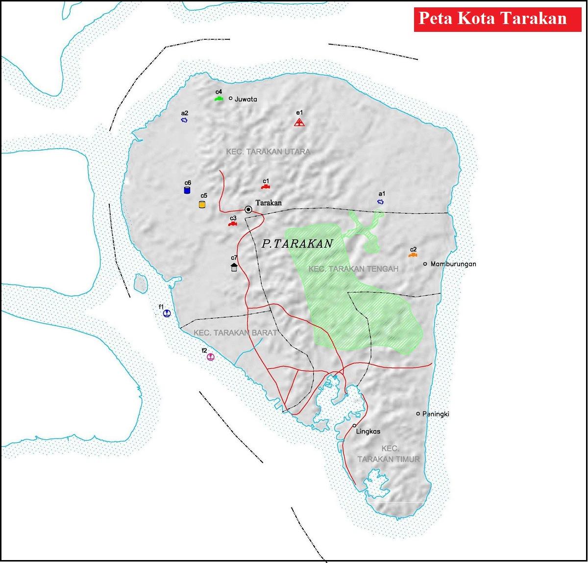 Peta Kota Tarakan Kaltim Lengkap