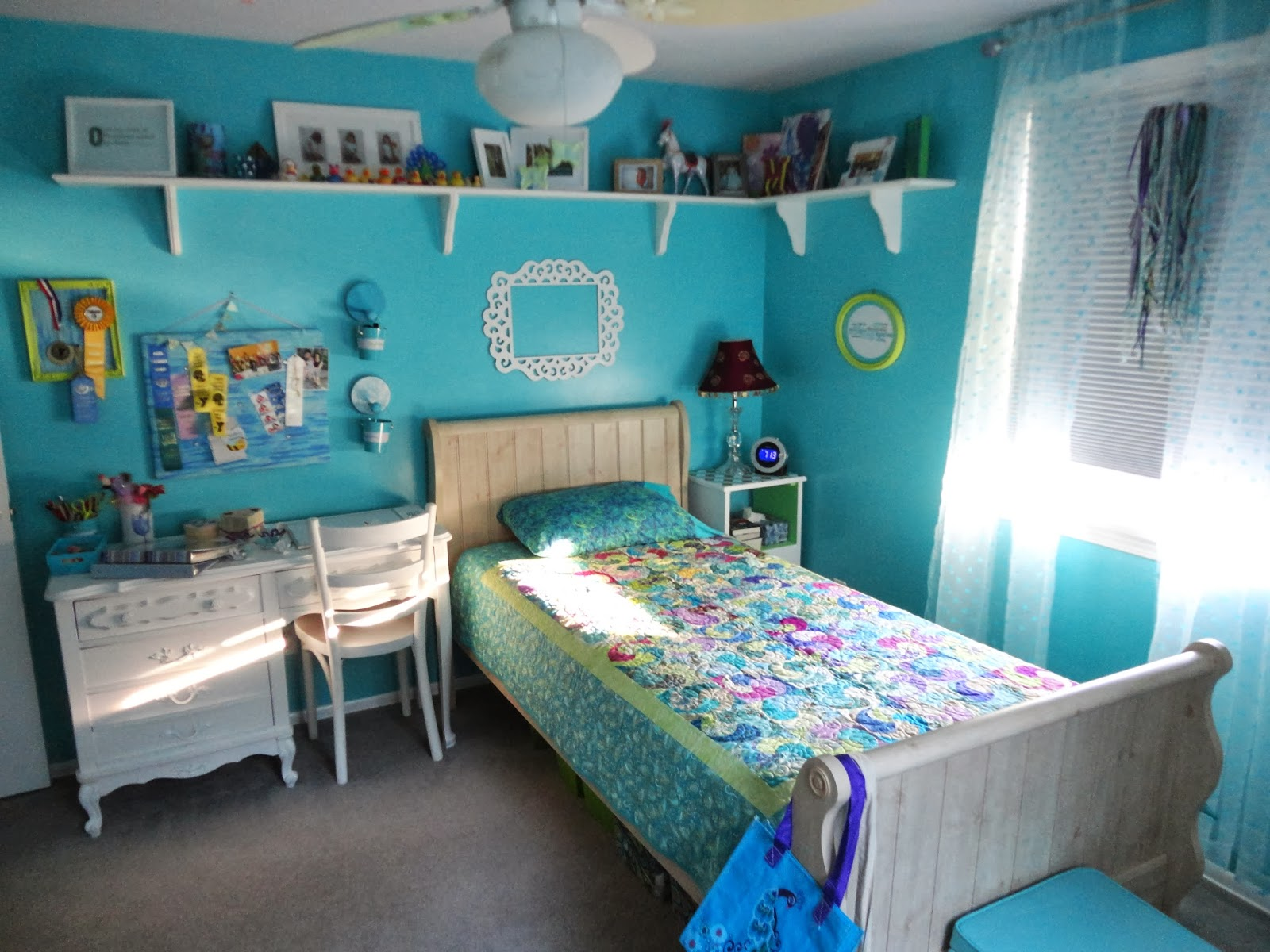 Geeky crafty tween teal room remodel - Room themes for teenage girl ...
