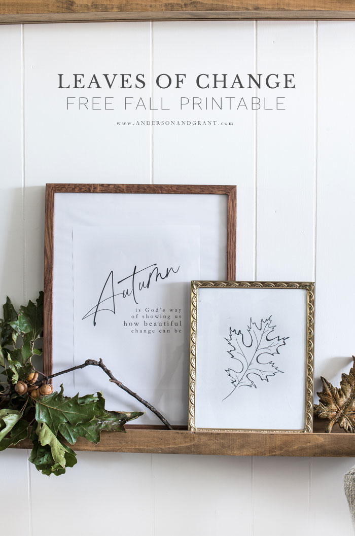 Leaves of Change Fall Printable Decor Pair - Download these free black and white PDF pages to decorate your home for fall.