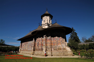 Side on view of Moldovito Painted Monastery in Bucovino region, Romania