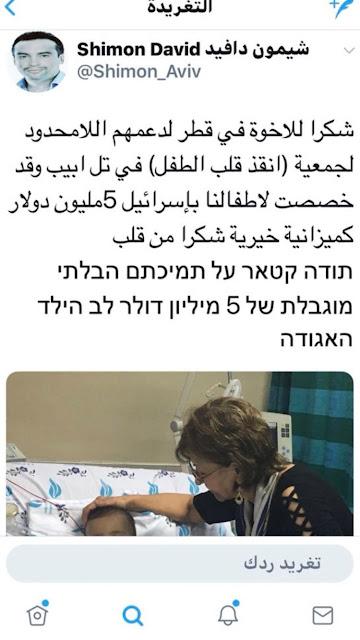 تغريدة : الدعم القطري لاسرائيل