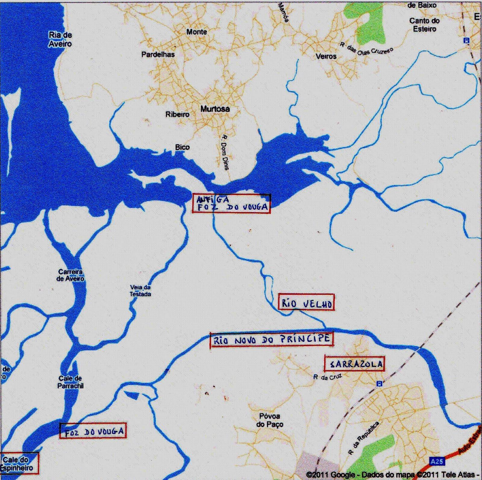 mapa de cacia AVEIRO. O ESPAÇO, O TEMPO, A MEMÓRIA: O Vouga: o Rio Velho e o Rio  mapa de cacia