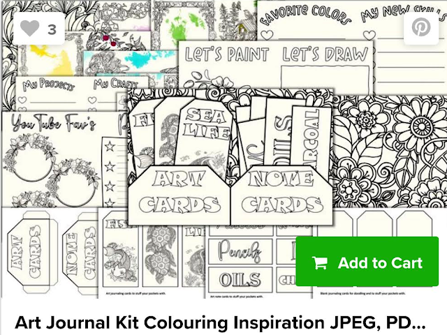 A screenshot of an art journal kit bundle from the Design Bundles website