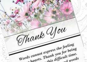 Beautiful Pink Wild Flowers Custom Sympathy Thank You Card