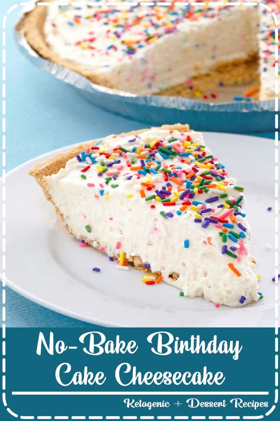 The rainbow of colors and flavors you love in birthday cake mix No-Bake Birthday Cake Cheesecake