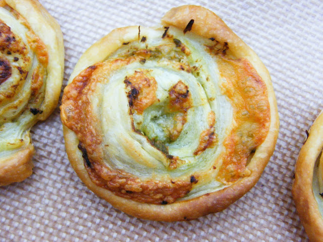 Close up of a Vegan Pesto Cheese Swirls