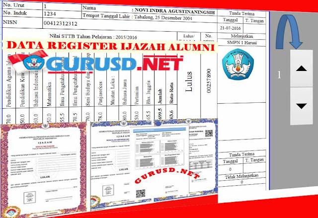 Aplikasi Data Registrasi Ijazah/STTB Alumni Format Excel