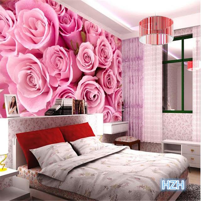 romantisk tapet rosa rosor fototapet sovrum tapeter romantisk stil