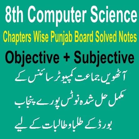 Eighth Class Computer Science Chapter Wise Notes In PDF For Punjab And Lahore Board Students