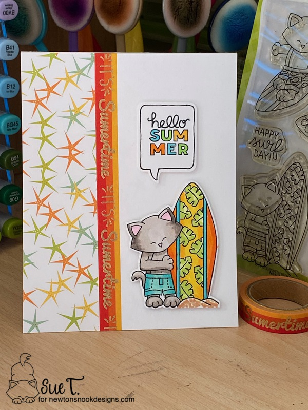 Hello summer by Sue T. features Speech Bubbles, Newton's Perfect Wave, and Tropical Fringe by Newton's Nook Designs; #inkypaws, #newtonsnook, #catcards, #summercards