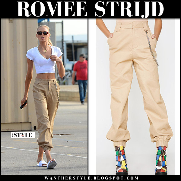 Romee Strijd in white top and khaki relaxed pants i.am.gia cobain model street style december 13
