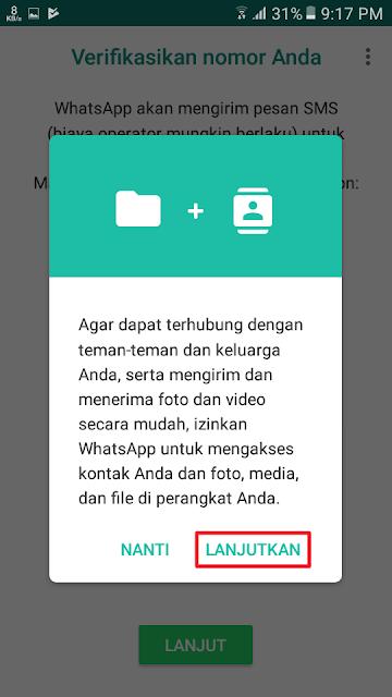 Agar dapat terhubung dengan teman-teman dan keluarga Anda, serta mengirim dan menerima foto dan video secara mudah, izinkan WhatsApp untuk mengakses kontak Anda dan foto, media, dan file di perangkat Anda.