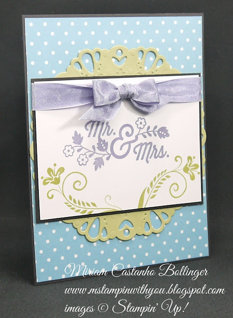 Miriam Castanho-Bollinger, #mstampinwithyou, stampinn up, demonstrator, dsc, wedding card, subtles DSP, flowering flourishes, for the new two stamp set, big shot, darling doily, su